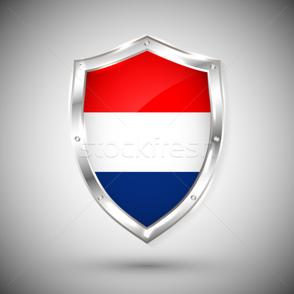 Holland flag on metal shiny shield vector illustration. Collection of flags on shield against white  Stock photo © olehsvetiukha