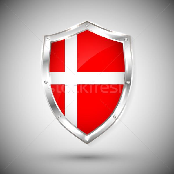 Dánia zászló fém fényes pajzs gyűjtemény Stock fotó © olehsvetiukha