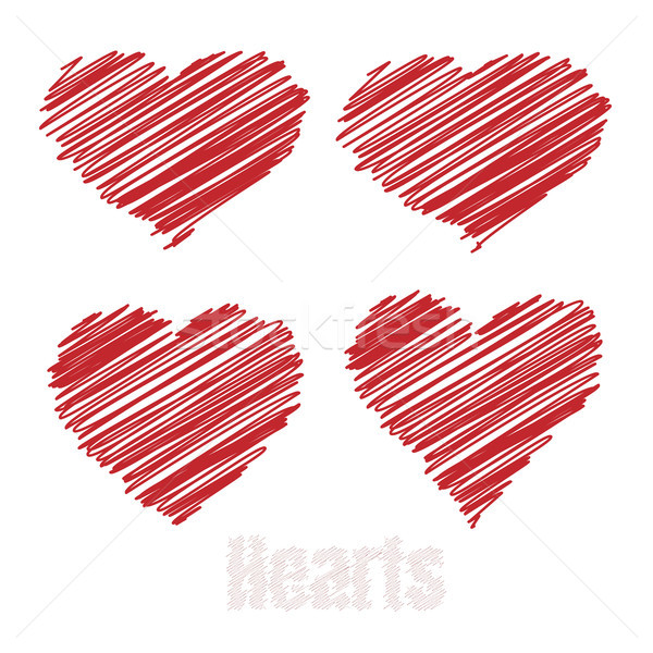 Scribble hearts, Red drawings hearts, vector illustration Stock photo © olehsvetiukha