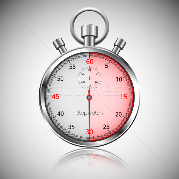 30 seconds  Silver realistic stopwatch with reflection  Vector
