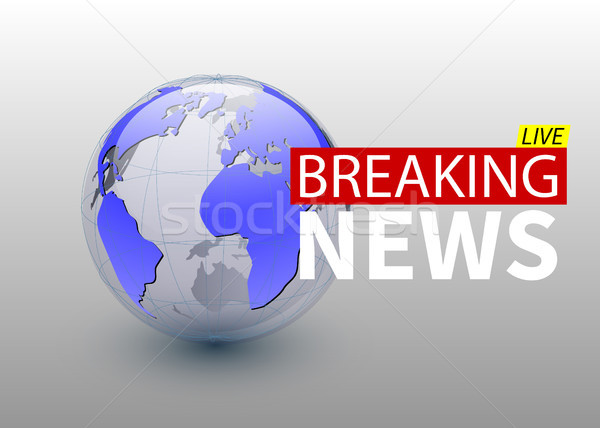 Breaking news, world news backgorund with planet, TV news design. Vector Stock photo © olehsvetiukha