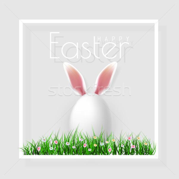 Kellemes húsvétot vektor húsvéti tojások fű pillangó virágok Stock fotó © olehsvetiukha