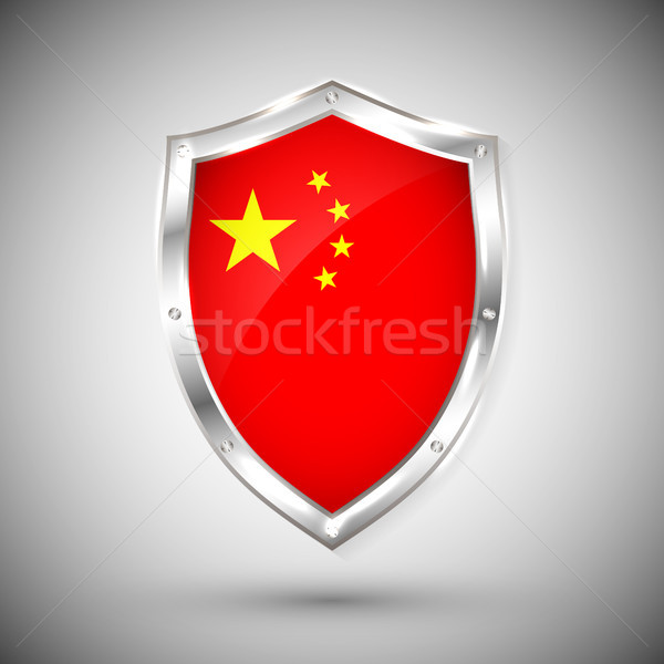 China flag on metal shiny shield vector illustration. Collection of flags on shield against white ba Stock photo © olehsvetiukha