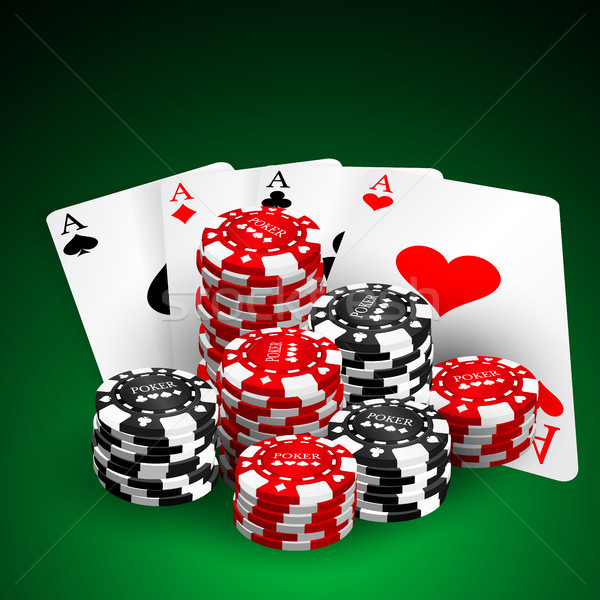 Stock photo: Vector illustration on a casino theme with playing chips and playig cards on dark background. Gambli