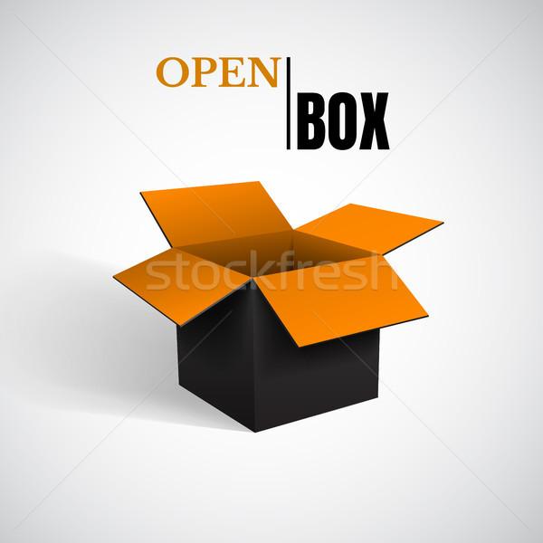 Open box, black cardboard, vector container Stock photo © olehsvetiukha
