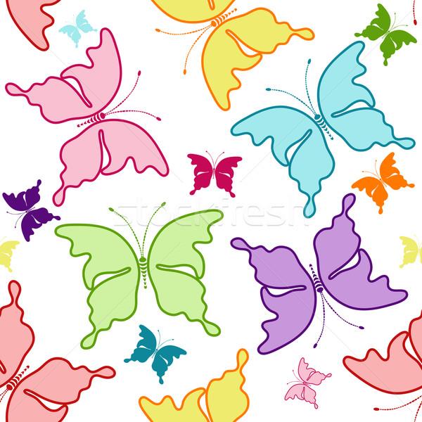 Blanche modèle silhouettes coloré papillons Photo stock © OlgaDrozd