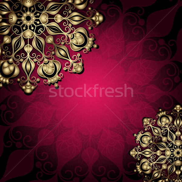 Gold and purple vintage card Stock photo © OlgaDrozd