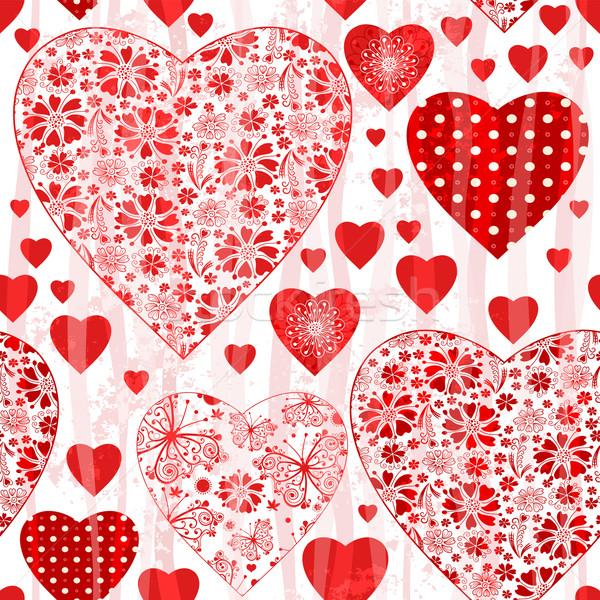 Stockfoto: Naadloos · Valentijn · patroon · Rood