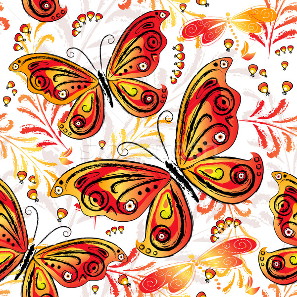 Floral seamless autumn pattern Stock photo © OlgaDrozd