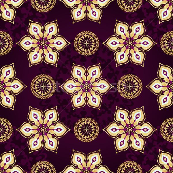 Vintage donkere violet goud bloemen Stockfoto © OlgaDrozd