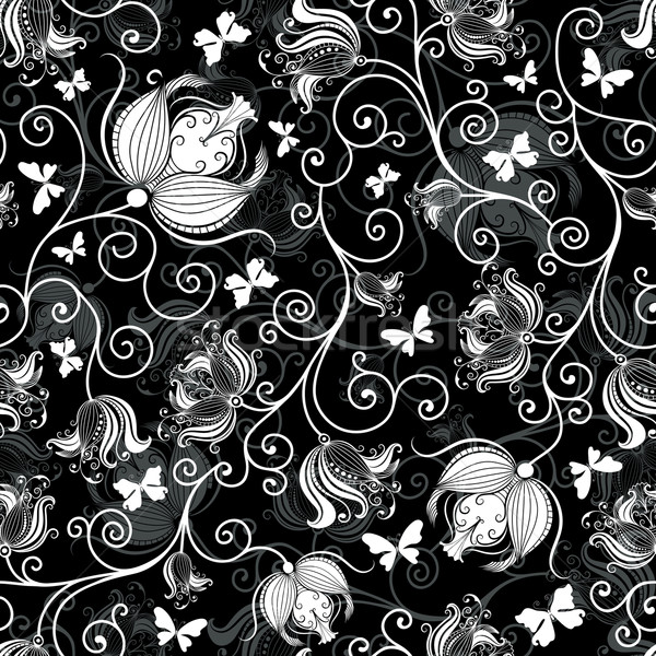 Seamless black-white floral pattern Stock photo © OlgaDrozd