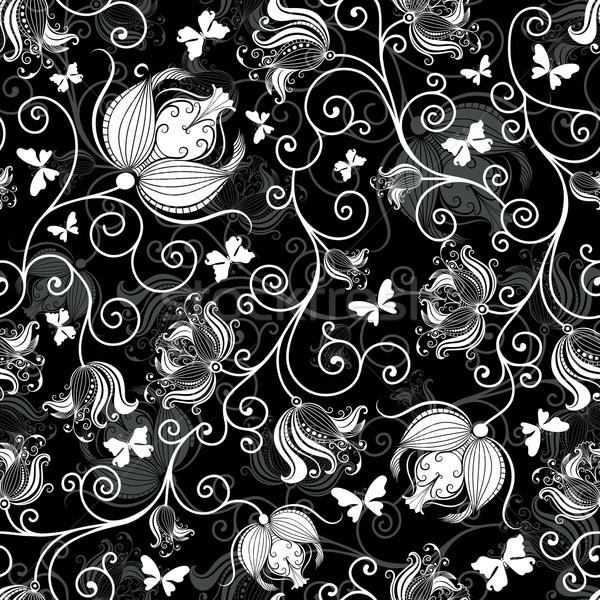 negro blanco patr n vintage flores mariposas ilustraci n vectorial olga drozdova. Black Bedroom Furniture Sets. Home Design Ideas