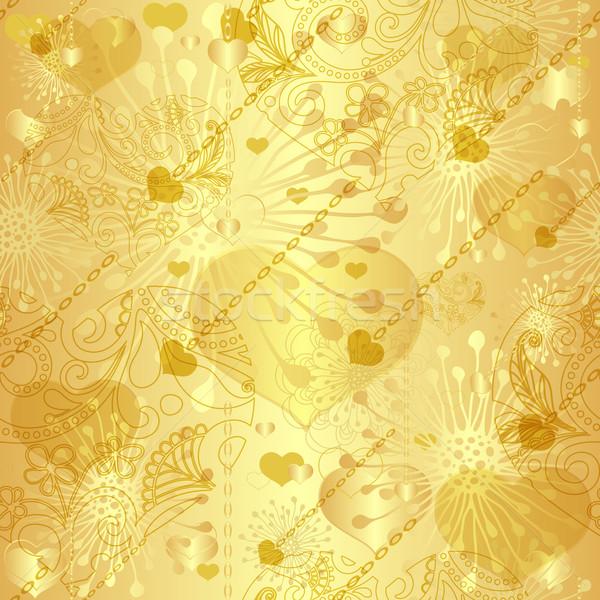 Bezszwowy złota walentynki wzór vintage przezroczysty Zdjęcia stock © OlgaDrozd