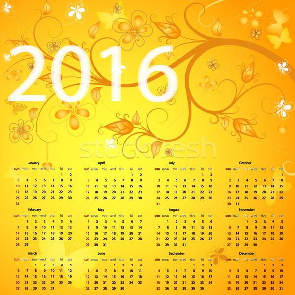 Stok fotoğraf: Sarı · takvim · 2016 · bağbozumu · vektör