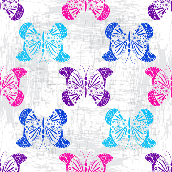 Grungy pattern with colorful butterflies Stock photo © OlgaDrozd