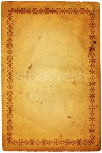 Vieux papier floral cadre vieux grunge papier Photo stock © OlgaDrozd