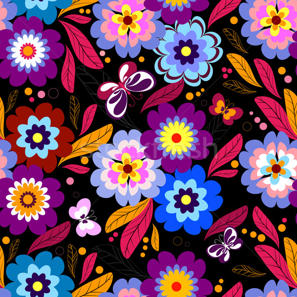 Seamless floral dark pattern  Stock photo © OlgaDrozd