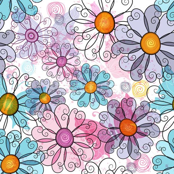 Seamless spring grunge floral pattern Stock photo © OlgaDrozd