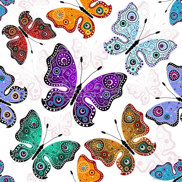 Seamless white pattern with butterflies Stock photo © OlgaDrozd