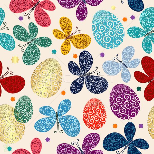 Photo stock: Pâques · peint · coloré · oeufs