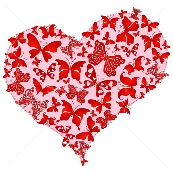 Rose romantique coeur rouge papillons Photo stock © OlgaDrozd