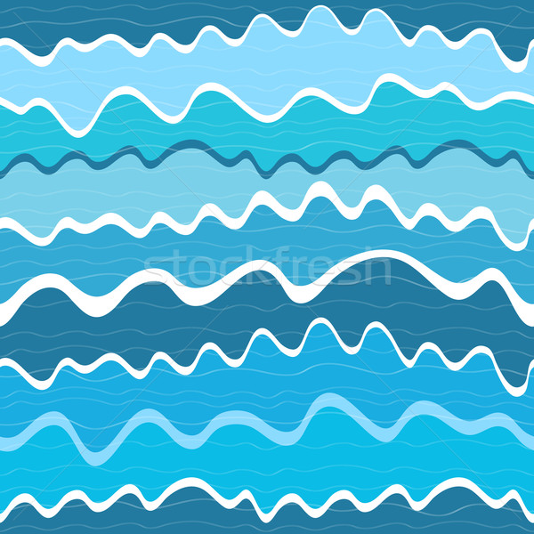 Bezszwowy fali pasiasty wzór niebieski fale Zdjęcia stock © OlgaDrozd