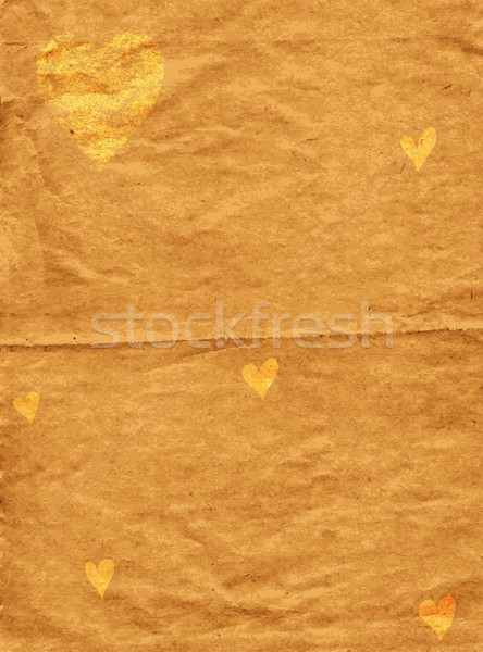 Old spotty grunge paper with gold hearts Stock photo © OlgaDrozd