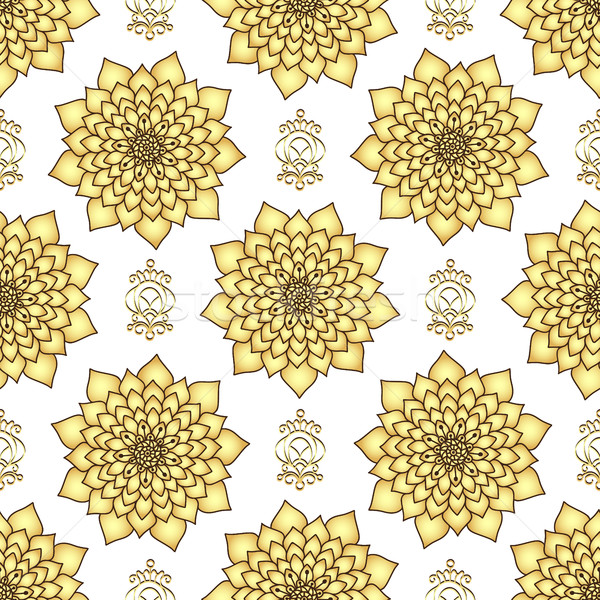 Vintage dorado loto flores resumen Foto stock © OlgaDrozd