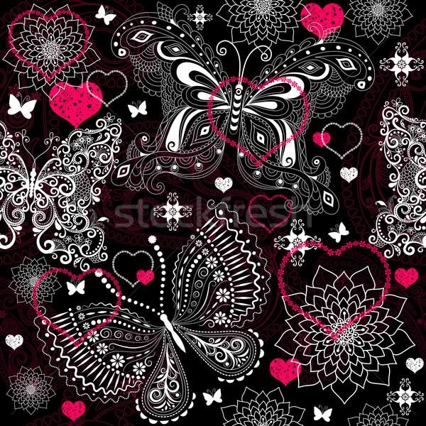 Seamless valentine lacy pattern Stock photo © OlgaDrozd