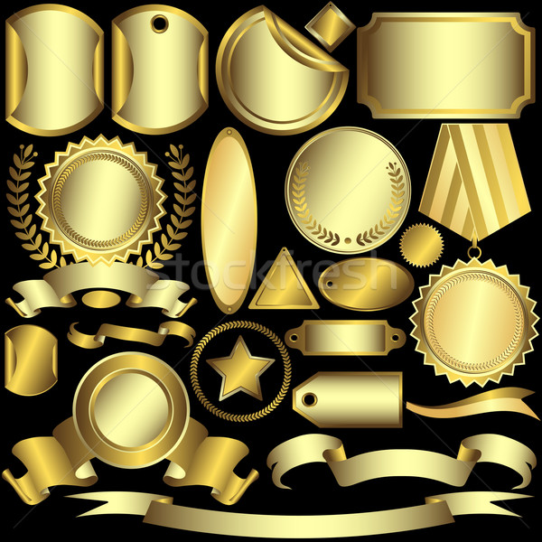 Set golden and silvery labels Stock photo © OlgaDrozd