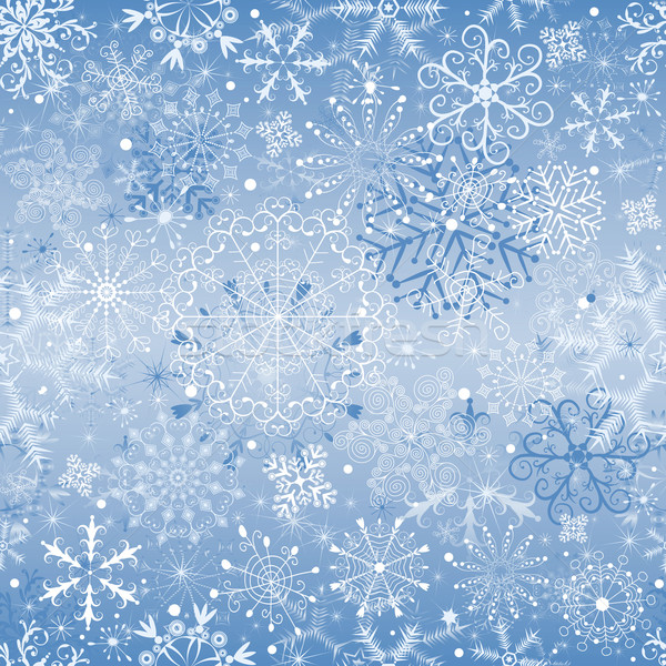 Karácsony hóesés végtelenített kék végtelen minta vektor Stock fotó © OlgaDrozd