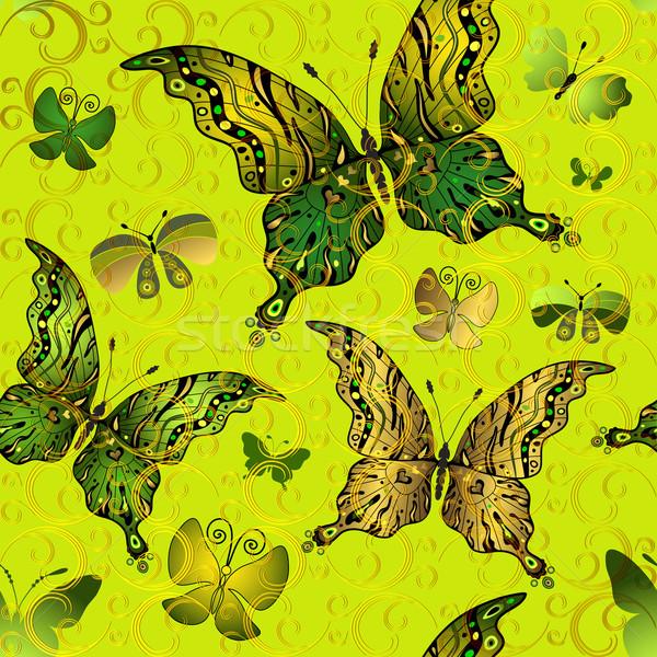 Sem costura verde vintage padrão ouro Foto stock © OlgaDrozd