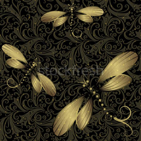 Foto stock: Sem · costura · vintage · padrão · escuro · ouro