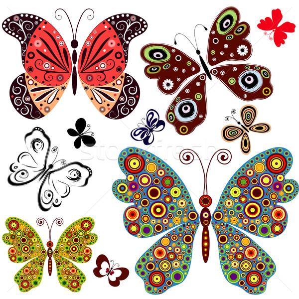 Сток-фото: набор · аннотация · бабочки · дизайна · белый · вектора