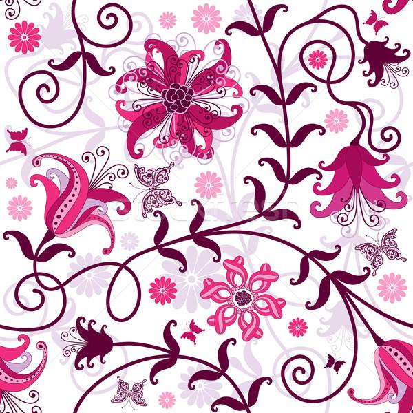 Foto stock: Sin · costura · blanco · floral · patrón · rosa · púrpura