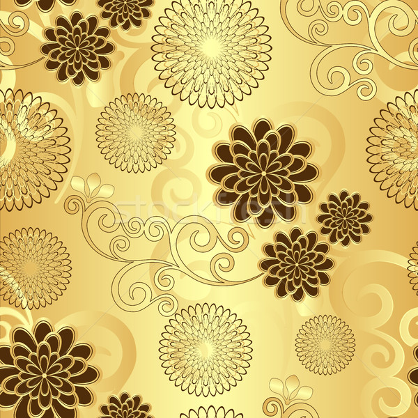 Seamless golden floral pattern  Stock photo © OlgaDrozd