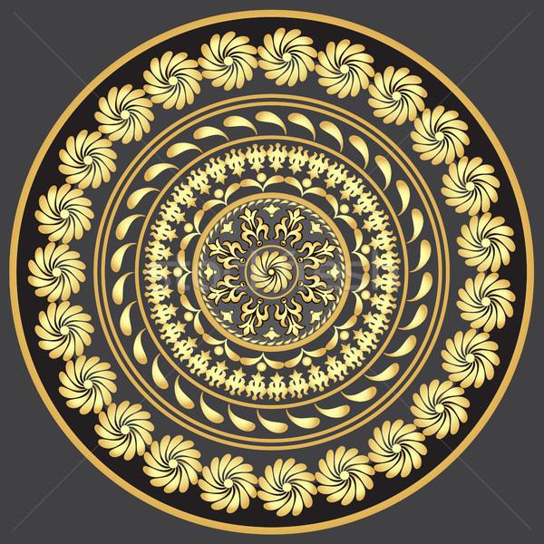 Ouro vintage padrão escuro cinza vetor Foto stock © OlgaDrozd