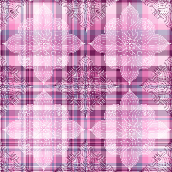 Repeating pink checkered pattern Stock photo © OlgaDrozd