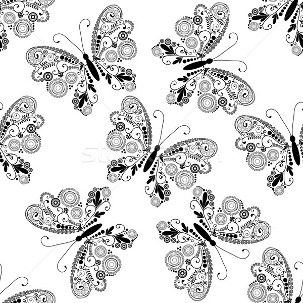 Seamless pattern with black lacy butterflies Stock photo © OlgaDrozd