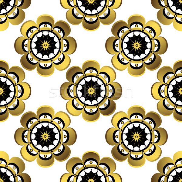 Naadloos witte patroon goud vintage Stockfoto © OlgaDrozd