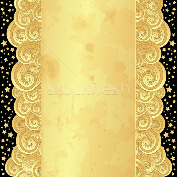 Gold frame with old paper and stars Stock photo © OlgaDrozd