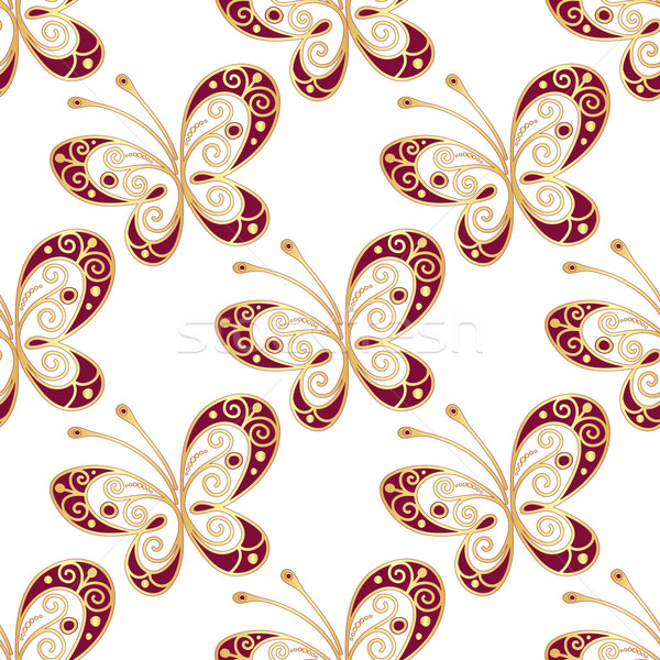 Seamless pattern with shiny butterflies Stock photo © OlgaDrozd