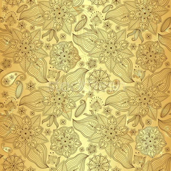 Gold lacy seamless pattern Stock photo © OlgaDrozd