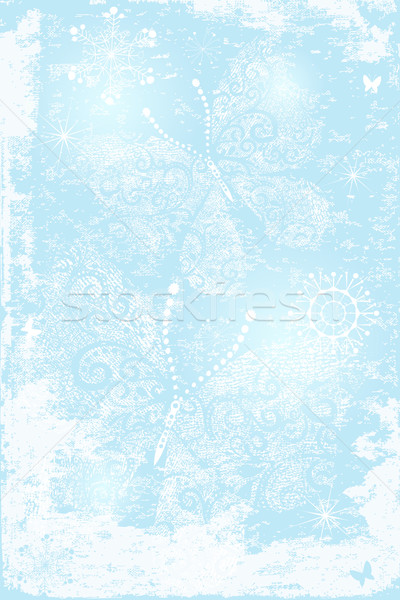 Bleu Noël papillons flocons de neige Photo stock © OlgaDrozd