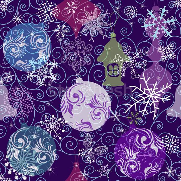Kerst patroon donkere violet sneeuwvlokken Stockfoto © OlgaDrozd