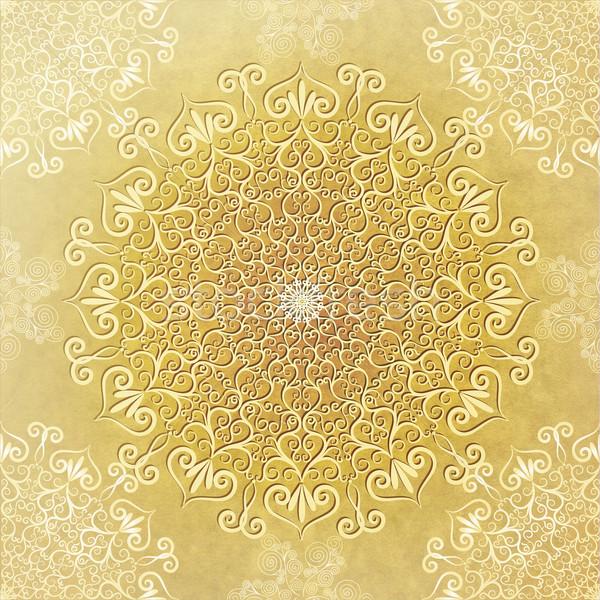 Régi papír keret öreg citromsárga papír dekoratív Stock fotó © OlgaDrozd