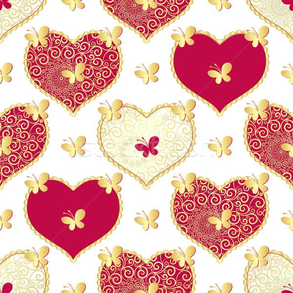 Valentine sem costura branco padrão ouro borboletas Foto stock © OlgaDrozd
