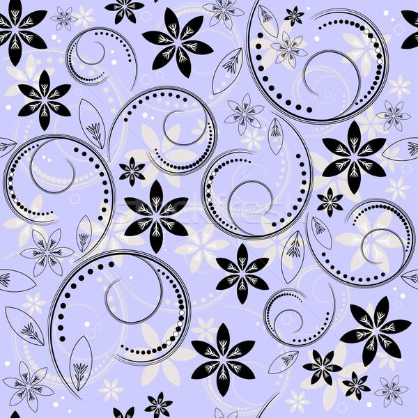 Floral modèle bleu blanc noir vecteur Photo stock © OlgaDrozd