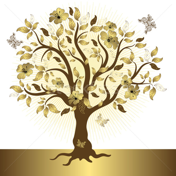 Abstract golden tree Stock photo © OlgaDrozd
