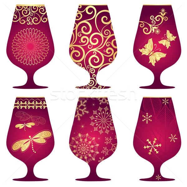Set of purple Christmas glasses Stock photo © OlgaDrozd